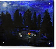 Snowmen Enjoy The Campfire  Acrylic Print