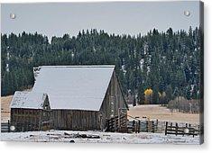 Snowy Barn Yellow Tree Acrylic Print