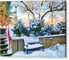 Snowy Bench Acrylic Print
