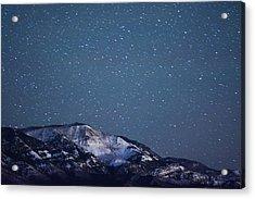 Snowy Mountain At Night Acrylic Print by Harpazo hope