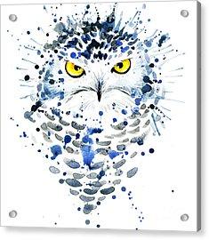 Snowy Owl. Watercolor Illustration Acrylic Print