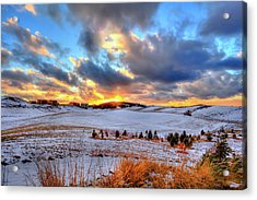 Acrylic Print featuring the photograph Snowy Sunset by David Patterson