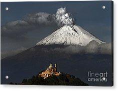Snowy Volcano And Church Acrylic Print