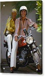 Socialite Bikers Acrylic Print by Slim Aarons