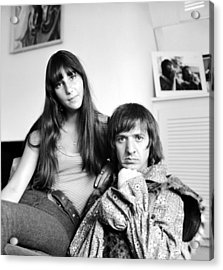 Sonny & Cher Portrait Session At Home Acrylic Print by Michael Ochs Archives