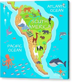 South America Mainland Cartoon Map With Acrylic Print