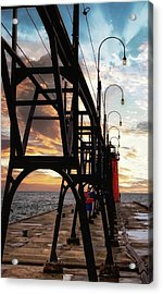 Acrylic Print featuring the photograph South Haven Pier Sunset by Lars Lentz