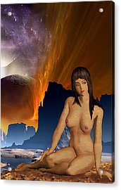 Acrylic Print featuring the painting Space Fantasy I-elnia Original Nude Goddess Artwork Multimedia Painting. by G Linsenmayer
