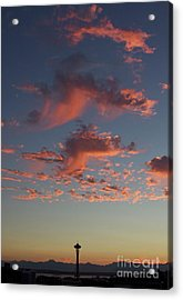 Space Needle And Pink Clouds Acrylic Print