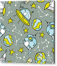 Space Print. Rocket, Flying Saucer Acrylic Print