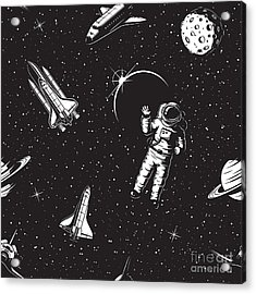 Space Seamless Pattern. Black And White Acrylic Print