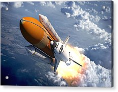 Space Shuttle Flying Over The Clouds Acrylic Print