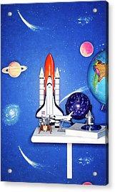 Space Travel Paraphernalia On Bedroom Acrylic Print