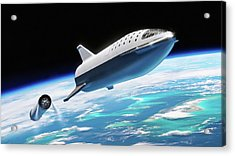 Acrylic Print featuring the digital art Spacex Bfr Big Falcon Rocket With Earth by Pic by SpaceX Edit by M Hauser