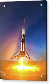 Acrylic Print featuring the photograph Spacex Falcon 9 Precision Booster Landing by Matthias Hauser