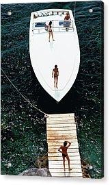 Speedboat Landing Acrylic Print by Slim Aarons