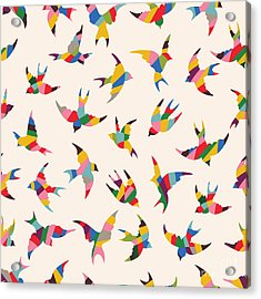 Spring Birds Seamless Pattern. Colorful Acrylic Print
