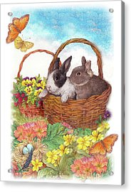 Spring Garden With Bunnies, Butterfly Acrylic Print