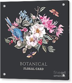 Spring Vintage Greeting Card With Acrylic Print