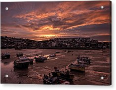 St Ives Cornwall - Harbour Sunset Acrylic Print