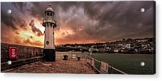 St Ives Cornwall - Lighthouse Sunset Acrylic Print