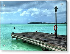 Acrylic Print featuring the photograph St. Maarten Pier In Aqua Caribbean Waters by Bill Swartwout Fine Art Photography