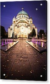 St. Sava Temple In Belgrade Nightscape Acrylic Print