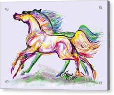 Crayon Bright Horses Acrylic Print