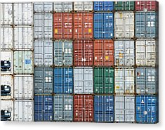 Stack Of Cargo Containers Full Frame Acrylic Print