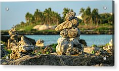 Stacked Rocks On Mexico Beach Acrylic Print
