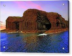 Staffa And Fingal's Cave - Scotland - Sunset Acrylic Print