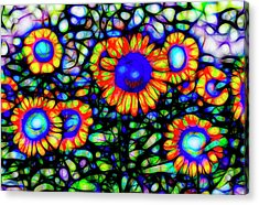 Stained Glass Sunflowers Art Acrylic Print