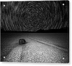 Star Trails Over Racetrack Playa Black And White Acrylic Print