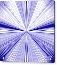 Starburst Light Beams In Blue And White Abstract Design - Plb455 Acrylic Print