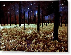 Starry Forest Night Acrylic Print