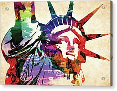 Statue Of Liberty Colorful Watercolor Acrylic Print