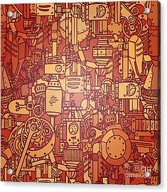 Steampunk Seamless Vector Pattern Acrylic Print