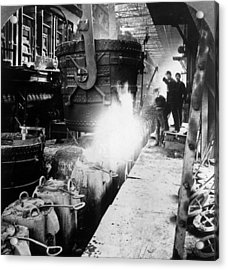 Steel Foundry Acrylic Print by Hulton Archive