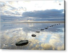 Stepping Stones Over Water With Sky Acrylic Print
