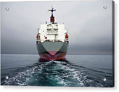 Stern Of A Grey And Pink Cargo Ship Acrylic Print