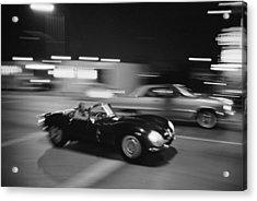 Steve Mcqueen Driving Sunset Strip Acrylic Print by John Dominis
