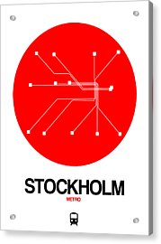 Stockholm Red Subway Map Acrylic Print