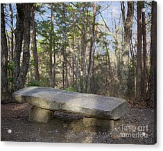 Acrylic Print featuring the photograph Stone Bench by Patrick M Lynch