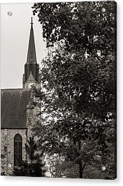 Acrylic Print featuring the photograph Stone Chapel - Black And White by Allin Sorenson