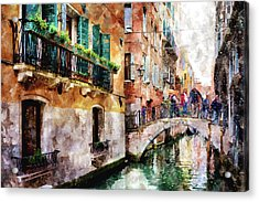 People On Bridge Over Canal In Venice, Italy - Watercolor Painting Effect Acrylic Print