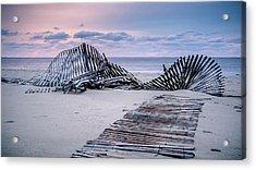 Storm Fence Sunrise Acrylic Print
