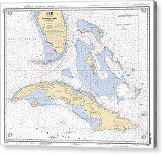 Straits Of Florida Nautical Chart Acrylic Print