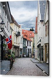 Acrylic Print featuring the photograph Street In Bergen, Norway by Whitney Leigh Carlson