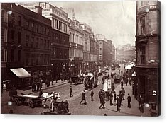 Street In Glasgow Acrylic Print by Hulton Archive