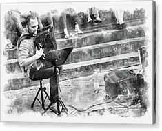 Street Musician In Florence Acrylic Print